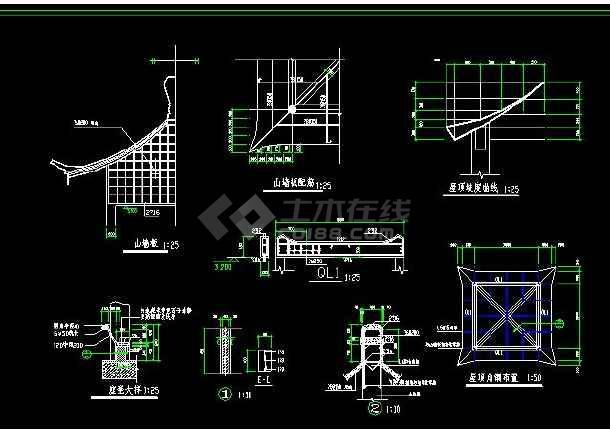 某地小型古建四角亭建筑施工图(标注详细)-图1