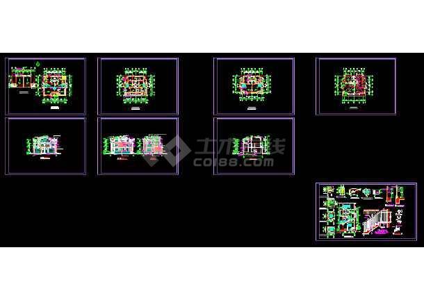 某双联别墅建筑施工全套设计CAD图纸-图1