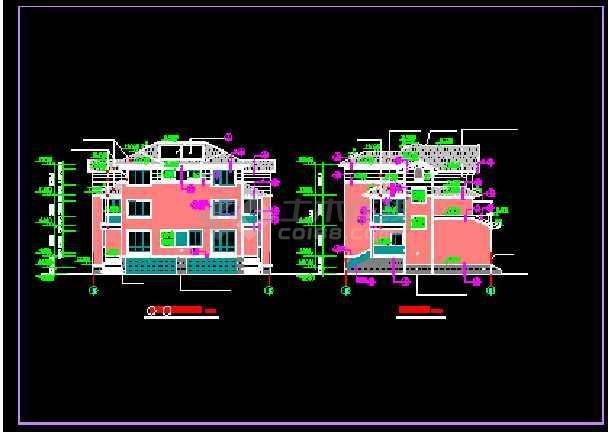 某双联别墅建筑施工全套设计CAD图纸-图3