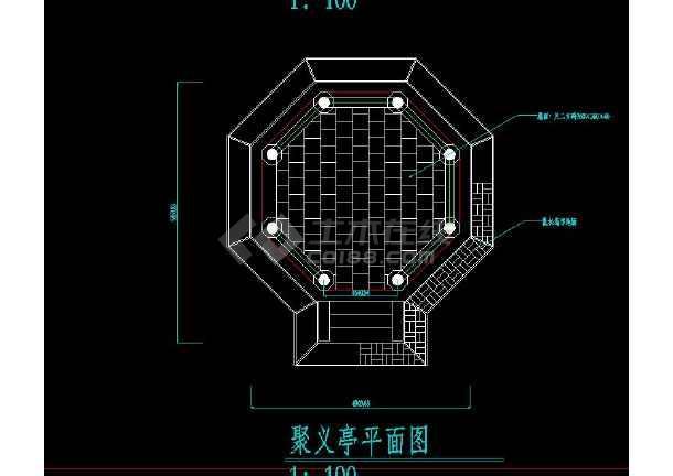 某地小型单围重檐八角亭建筑设计图(共4张)-图2