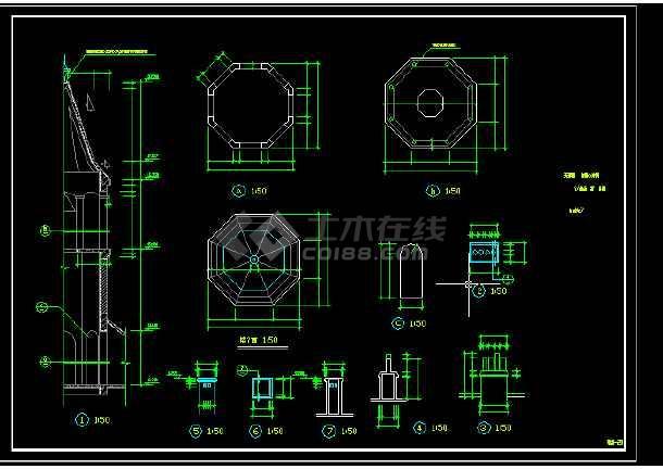 景区艺术钟楼设计方案全套CAD图纸-图1