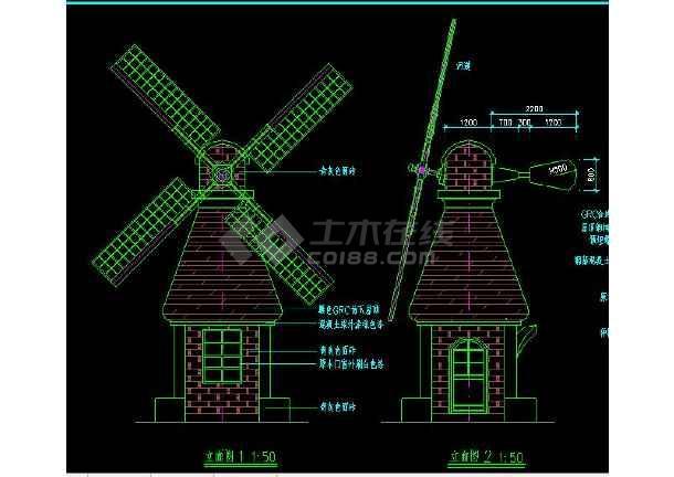 某地小型图纸标注亭打开施工图(售卖详细)_cacad风车只建筑一部分图片