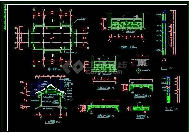 某地小型古建长廊建筑设计施工图(共5张)-图1