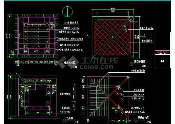 某地小型草亭建筑设计图(标注详细)-图1