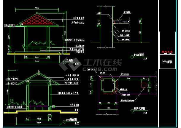 某地小型草亭建筑设计图(标注详细)-图2