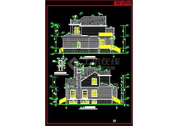 两套别墅方案设计CAD详图带效果图-图2