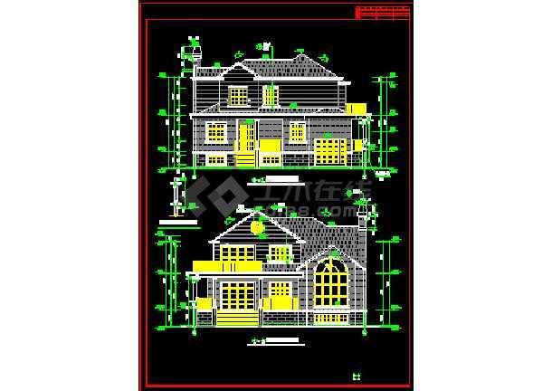 两套别墅方案设计CAD详图带效果图-图3