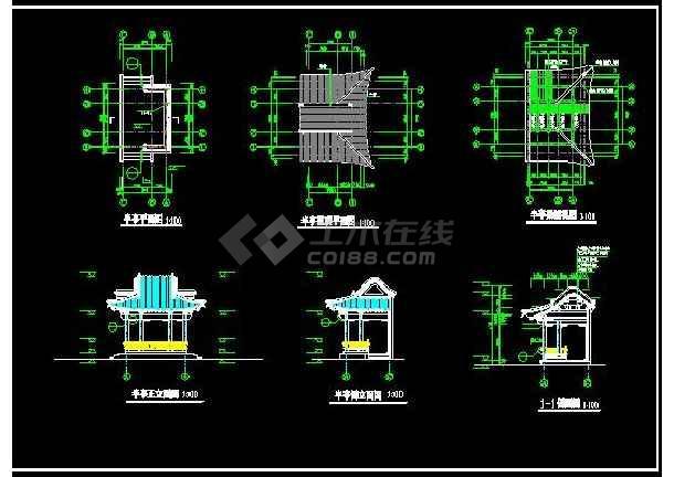 某地小型详细的半亭建筑设计图(含设计说明)-图1