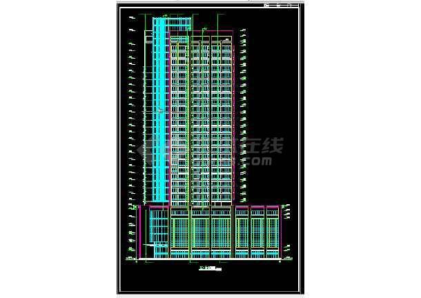 某国际大厦建筑设计施工方案全套CAD图纸-图3