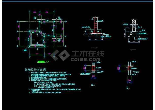 某地小型古建双亭建筑设计图(含设计说明)-图1