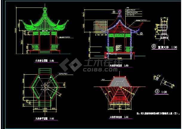 某地小型古建双亭建筑设计图(含设计说明)-图2