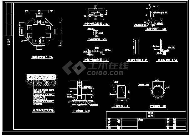 某地小型八角亭建筑设计图(标注详细)-图2