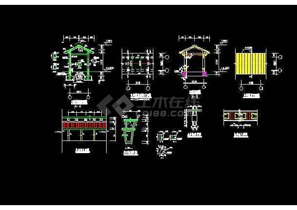 某地大型古建亭廊建筑设计图(标注详细)-图2