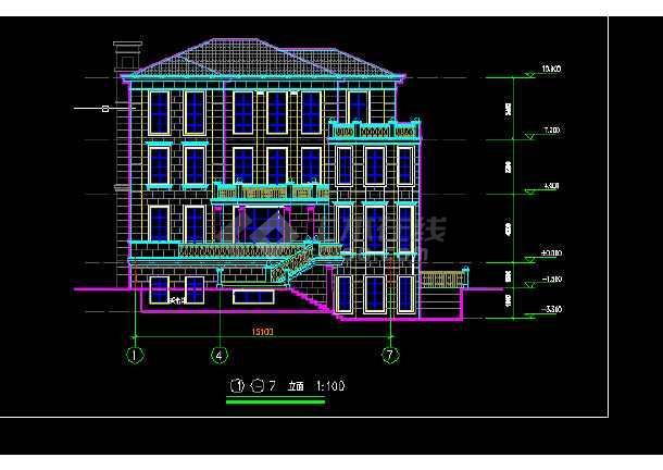 别墅居民住宅楼建筑施工CAD设计图_cad图纸罗技g502画cad怎么设置图片