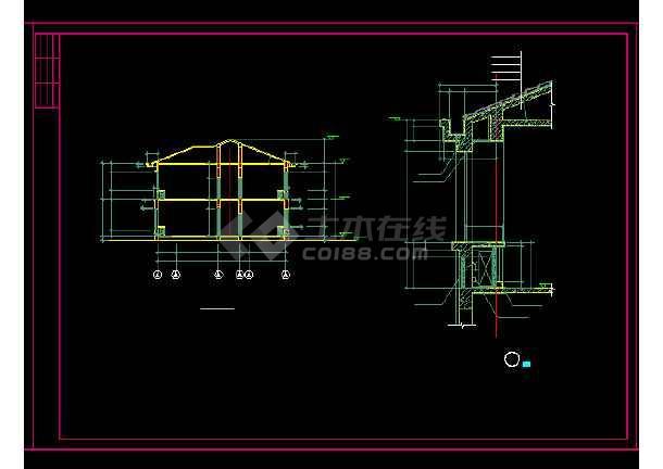 收费站建筑施工设计方案全套CAD图纸-图3