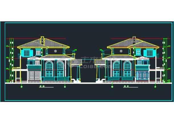 某双拼别墅建筑设计CAD详情全套图纸-图2