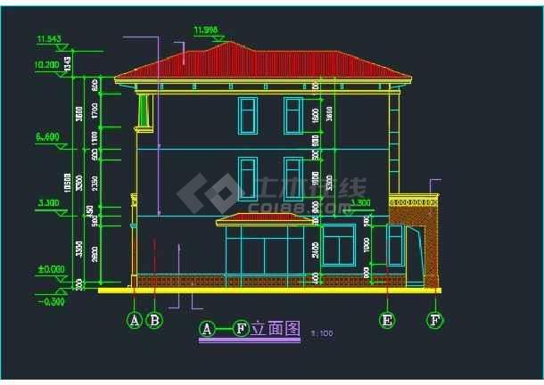 某水岸豪宝石A型别墅设计CAD详图-图2