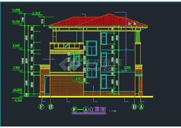 某水岸豪宝石A型别墅设计CAD详图-图3