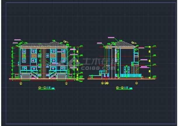 双拼别墅施工设计详情CAD全套图纸-图1