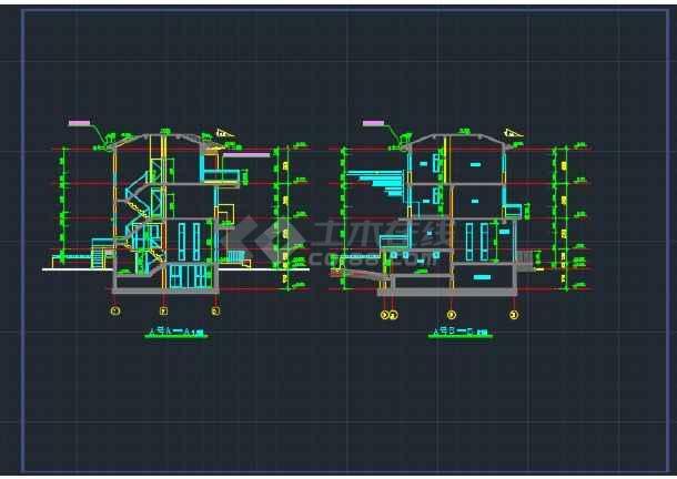 双拼别墅施工设计详情CAD全套图纸-图2