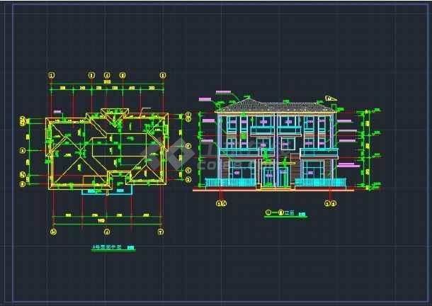 双拼别墅施工设计详情CAD全套图纸-图3