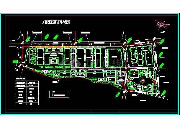 某工业园区车间总规划cad总平面设计图纸