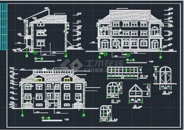 某欧式错层别墅建施CAD设计详情图-图1