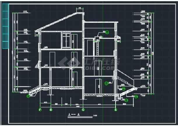 某欧式错层别墅建施CAD设计详情图-图3