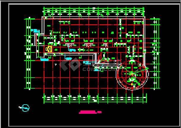 某传染病房楼建筑结构的cad六合无绝对着名室内设计平面图和效果图图片