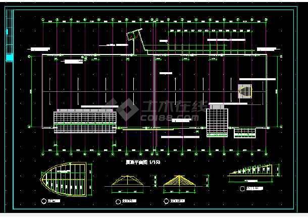 体育会所建筑施工CAD全套设计方案详图-图1