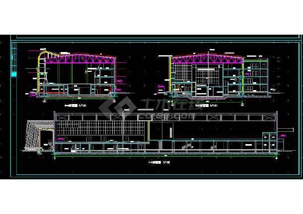 体育会所建筑施工CAD全套设计方案详图-图3