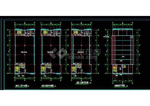 商业写字楼建筑施工CAD全套设计方案详图-图3