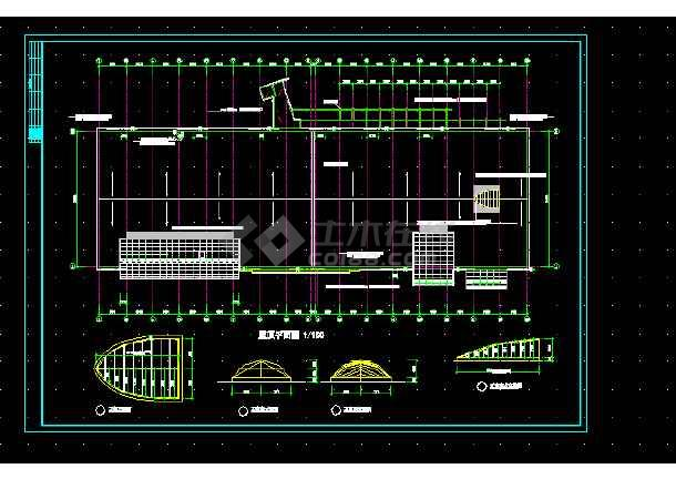 某体育会所建筑施工CAD设计图纸-图3