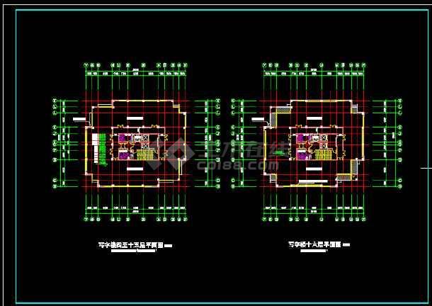 一套简单的高层写字楼建筑设计图纸-图3