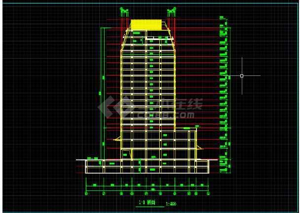 一套简单的高层写字楼建筑设计CAD图-图1