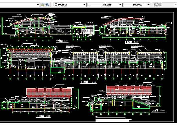 体育活动中心建筑施工CAD设计图纸-图1