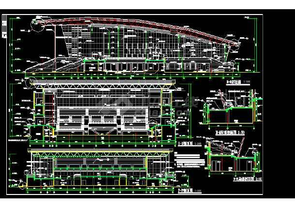 体育活动中心建筑施工CAD设计图纸-图2