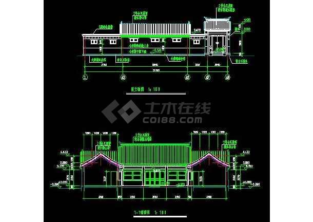 某四合院住宅建筑设计方案图(共4张)-图1