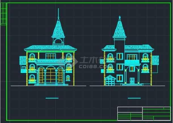 某大型楼盘别墅户型CAD详情图纸-图1