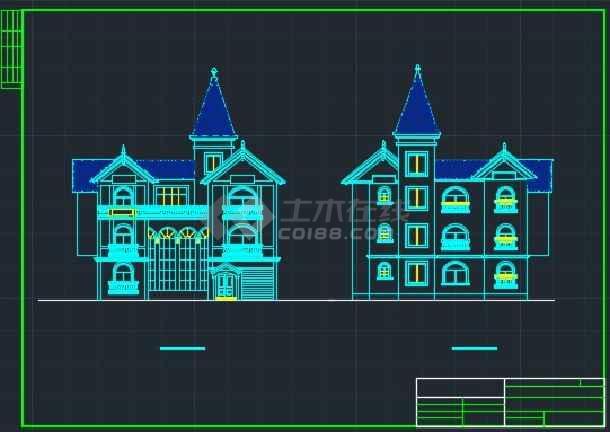某大型楼盘别墅户型CAD详情图纸-图2