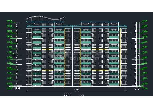 某地区某安置小高层建筑设计CAD施工平立剖面图-图1