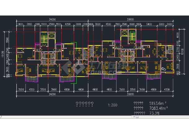 某地区某安置小高层建筑设计CAD施工平立剖面图-图3
