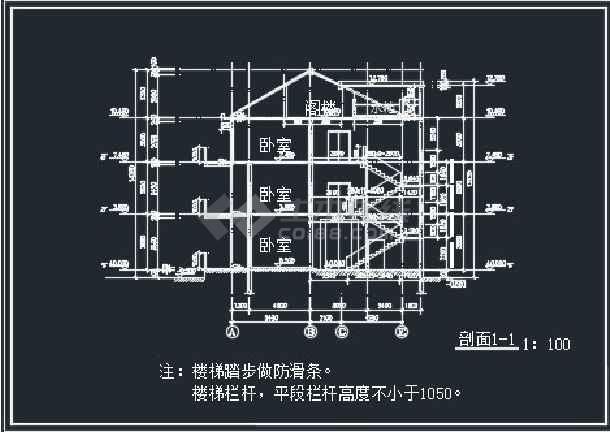 某单栋别墅建筑CAD详情施工图纸-图1