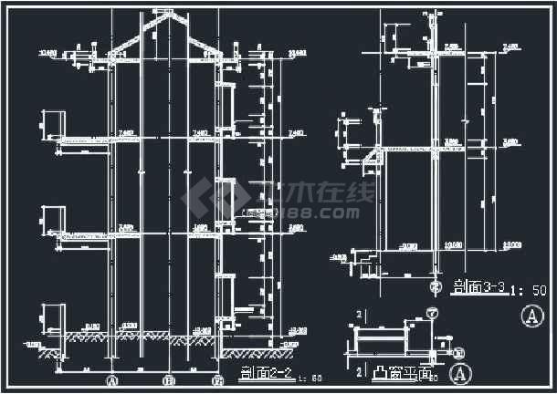 某单栋别墅建筑CAD详情施工图纸-图2