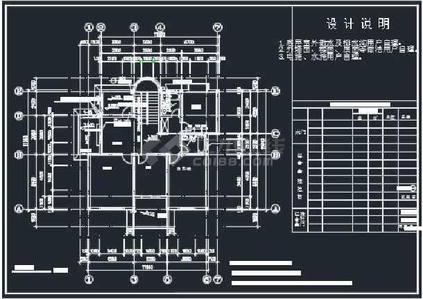 某单栋别墅建筑CAD详情施工图纸-图3