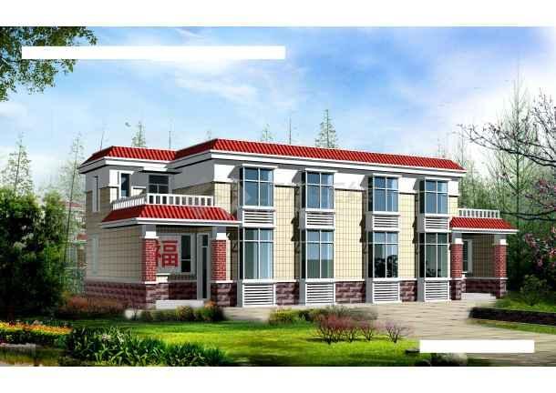 小型的农村二层住宅建筑施工图纸(含效果图)-图2