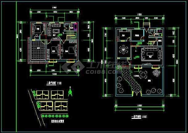 小型的农村二层住宅建筑施工图纸(含效果图)-图1