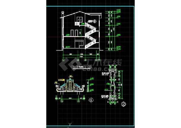 经典的农村三层住宅建筑施工图(共10张)-图2