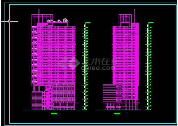 酒店办公楼建筑施工CAD设计图纸-图1