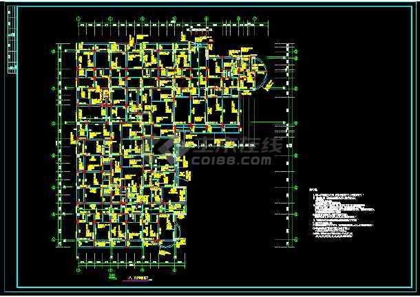 医院肿瘤病房大楼主体结构施工图(共28张)-图1